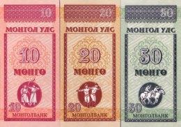 Mongolia 10, 20, 50 Mongo, P-49-51 (1993) - Set Of 3 - UNC - Mongolei
