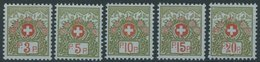 PORTOFREIHEITSMARKEN Pf 3-7II **, 1911-21, 3 - 20 C. Alpenrose, Ohne Kontrollnummer, 5 Postfrische Prachtwerte, Mi. 69.3 - Portofreiheit