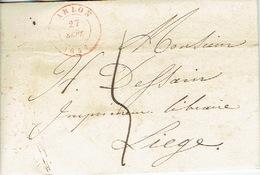 LAC D'ARLON Du 27 Septembre 1847 Vers LIEGE - Port De 5 Décimes - Signé G. EVERLING Imprimeur-libraire à ARLON - 1830-1849 (Belgique Indépendante)