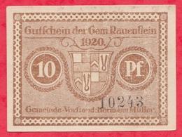 Allemagne 1 Notgeld De 10 Pfenning Stadt Rauenstein état   N °2106 - [ 3] 1918-1933 : République De Weimar