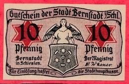 Allemagne 1 Notgeld De 10 Pfenning Stadt Bernstadt UNC   N °2107 - [ 3] 1918-1933 : République De Weimar