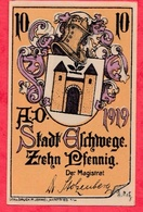 Allemagne 1 Notgeld De 10 Pfenning Stadt Eschwege état   N °2109 - [ 3] 1918-1933 : République De Weimar