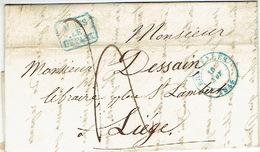 LAC BRUXELLES 16/11/1844 Vers LIEGE + Griffe APRES LE DEPART Encadrée En Bleu-signé VANDERBORGHT Fonderie Typographique - 1830-1849 (Belgique Indépendante)