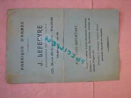 Armes J. LEFEBVRE Arquebusier Paris Catalogue 12 Pages  16X25 B.E. - Catalogues