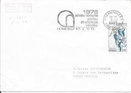 TIMBRE N° 1851 -  POITOU CHARENTES  - 1ER JOUR - 1975 -  SEUL SUR LETTRE - FLAMME CHARENTE MME 17 - LA ROCHELLE - 1970-1979