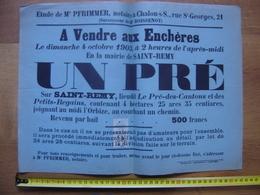 Ancienne Affiche 1903 Vente Mobiliere PRE A Saint Remy 71 - Affiches