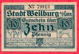 Allemagne 1 Notgeld De 10 Pfenning Stadt Weilburg état   N °2114 - [ 3] 1918-1933 : République De Weimar