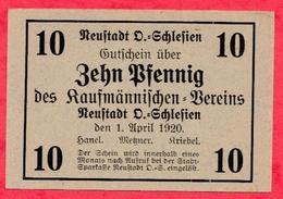 Allemagne 1 Notgeld De 10 Pfenning Stadt  Reustadt UNC  N °2115 - [ 3] 1918-1933 : République De Weimar