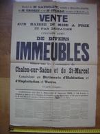 Ancienne Affiche 1935 Vente Mobiliere IMMEUBLES A Chalon Sue Saone St Marcel 71 - Affiches