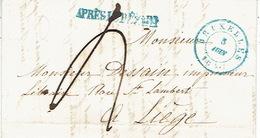 """LAC De BRUXELLES Datée Du 5 Juin 1847 Vers LIEGE + Griffe Linéaire Bleue """"APRES LE DEPART"""" - Signé épse DEPREZ-PARENT - 1830-1849 (Belgique Indépendante)"""