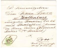 Drei Kreuzer Marke Mit Stempel Wien Auf Brief (waagrechte Falte Im Oberen Teil) An Baron Von Wallenburg In Loco - Briefe U. Dokumente