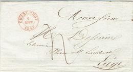 LAC De CHARLEROY 9 AOUT 1847 (très Belle Frappe) > LIEGE  H. DESSAIN éditeur-imprimeur-signé Boué Libraire à CHARLEROI - 1830-1849 (Belgique Indépendante)