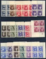 CZECHOSLOVAKIA 1945 War Heroes In Blocks Of 4 MNH / **.  Michel 439-54 - Czechoslovakia