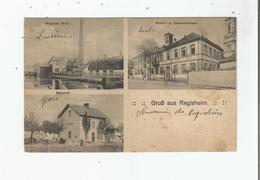 GRUSS AUS REGISHEIM (REGUISHEIM HAUT RHIN)  WEBEREI WITZ . SCHUL. U. GEMEINDHAUS. BAHNHOF 1919 - Autres Communes