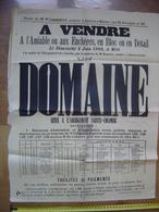 Ancienne Affiche 1882 Vente Mobiliere DOMAINE A L'Abergement Sainte Colombe 71 - Affiches