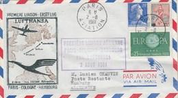 Première Liaison Paris Cologne Hambourg Par Lufthansa 2/8/1961 - Avions