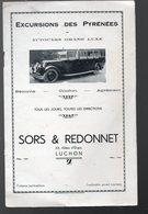 Luchon (31 Haute Garonne) Catalogue EXCURSIONS SORS ET REDONNET (PPP9959) - Dépliants Turistici