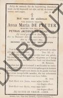 Doodsprentje Anna Maria De Peuter °1815 Emblem †1897 Antwerpen /Wwe Petrus Jacobus De Schutter (F206) - Obituary Notices