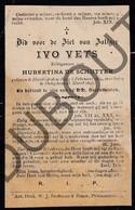 Doodsprentje Ivo Vets °1834 Heist Op Den Berg †1893 Oelegem / Echtg. Hubertina De Schutter (F211) - Obituary Notices