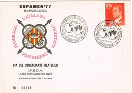30775. Tarjeta Exposicion BARCELONA 1977. ESPAMER 77, I.F.S.D.A - 1931-Hoy: 2ª República - ... Juan Carlos I