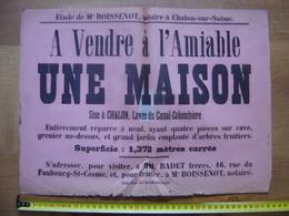 Ancienne Affiche Vente Mobiliere MAISON A Chalon Sur Saone Levee Canal Colombiere 71 - Affiches