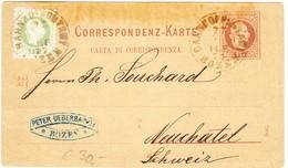 1877 2 Kr Ganzsachenkarte Mit Zusatzfrankatur; Gestempelt Bahnhofpostamt Bozen An Philippe Suchard Neuchatel - Briefe U. Dokumente