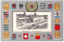 Ungelaufene Prägekarte Aus Bettembourg Bahnhof Mit Lokomotive - Bettembourg