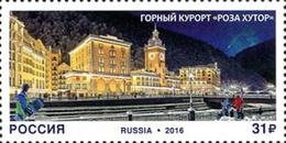 Russia 2016 Tourism Rosa Khutor Alpine Resort Krasnodar Krai Architecture Geography Places Holiday Hotel Stamp MNH - Hotels, Restaurants & Cafés