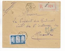 """ALGERIE - 1932 - ENVELOPPE RECOMMANDEE De BONE Avec CACHET RECETTE AUXILIAIRE """"A"""" => MARSEILLE - Algeria (1924-1962)"""