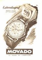 """PUB MONTRE  CALENDOGRAF  """" MOVADO  """"  1940'S ( 10 ) - Gioielli & Orologeria"""