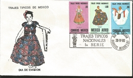 J) 1980 MEXICO, FIRST SERIES OF NATIONAL TYPICAL SUITS, CHINA POBLANA, CHIAPANECA, JAROCHA, MULTIPLE STAMPS, FDC - Mexico