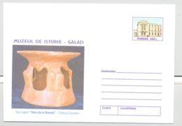 ARCHAEOLOGY, CUCUTENI CULTURE VASE, COVER STATIONERY, ENTIER POSTAL, 2001, ROMANIA - Archéologie