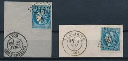 """N-273: FRANCE: Lot """"BORDEAUX"""" Avec N°46B Obl Sur Fragment (2) - 1870 Bordeaux Printing"""