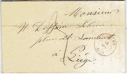 LAC De MARCHE Datée 13 Décembre 1847 Vers LIEGE- Belle Frappe- Signé C. DANLOY-de FREIGNIES Imprimeur éditeur Marche - 1830-1849 (Belgique Indépendante)