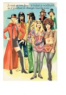 Cpm Humour - Illustration Carrière - Thème Hippie Pin-up La Mode Laideur Pin'up Homme Moustache Bas Cuissarde Seins Nus - Mode