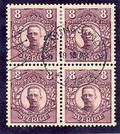 SWEDEN 1912 King Gustav V  8 Öre Used Block Of 4.  Michel 70 - Oblitérés