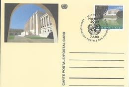 Onu, United Nations, Nations Unies,genève, Entier Postal 1993, Carte Fdc, 0.80 Fs , Palais Des Nations - Genf - Büro Der Vereinten Nationen