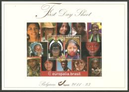 BELGIUM 2011 EUROPALIA BRAZIL NATIVE INDIANS M/SHEET LUXURY FIRST DAY SHEET FDC - Belgium
