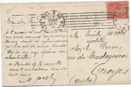 PARIS Oblitération Mécanique PARIS XII Rue Crozatier 7 Barres Inégales 1916 Sur Semeuse Ref Dreyfuss A12101 ....G - Marcofilie (Brieven)