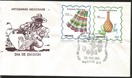 J) 1980 MEXICO, FIRST SET OF MEXICAN CRAFTS, TEXTILES, GLASS, MULTIPLE STAMPS, FDC - Mexico