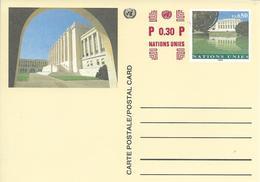Onu, United Nations, Nations Unies,genève, Entier Postal 1996, Carte Neuve, 0.80 Fs+0.30 , Palais Des Nations - Briefe U. Dokumente
