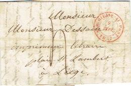 LAC De MARCHIENNE-AU-PONT Datée Du 9 Septembre 1847 Vers LIEGE - Signé Fr. J. CASTEL Libraire à Marchienne-au-Pont - 1830-1849 (Belgique Indépendante)