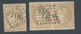 """N-275: FRANCE: Lot """"BORDEAUX"""" Avec N°43A 2ème Choix-3A(paire( 2ème Choix, 2 Plis Horizontaux , Bel Aspect) - 1870 Emission De Bordeaux"""
