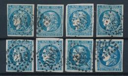 "N-276: FRANCE: Lot ""BORDEAUX"" Avec N°46B Obl (8) - 1870 Bordeaux Printing"