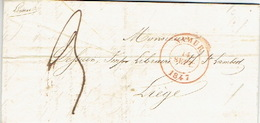 LAC De NAMUR Datée Du 14 Septembre 1847 Vers LIEGE - Signé A. LEROUX Libraire à NAMUR - 1830-1849 (Belgique Indépendante)