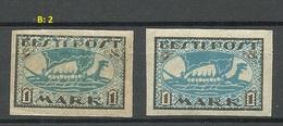 ESTLAND Estonia 1920 Michel 12 Y Color Variety B: 2 (greenish-blue) + Normal Stamp * - Estonie