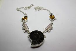 Collana Con Fossile Di Ammonite + Perle Biwa E  Citrino  Misura 49 Cm. - Molto Bello - Collane/Catenine