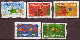 FRANCE - 2004 - YT N° 3722 / 3726 - Oblitérés - Meilleurs Voeux - Usados