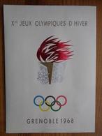 FDC ENCART DE LUXE, JEUX OLYMPIQUES GRENOBLE 1968 AVEC LES 2 DATES - SIGNE COMBET - Winter 1968: Grenoble