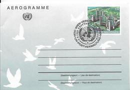 Onu, United Nations, Nations Unies,vienne, Entier Postal 1992, Aérogramme Fdc, 12s, Palais Des Nations, Colombes - Centre International De Vienne